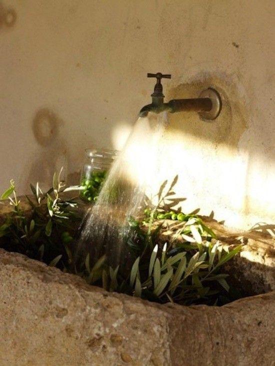 Outdoor Mediterranean concrete sink with olive branches, Gardenista