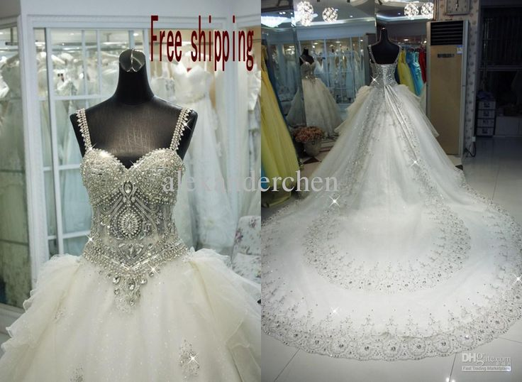Wholesale luxurious a-line spaghetti Organza Applique cathedral sequin rhinestone beads 2013 Wedding Dresses, Free shipping, $341.6-358.4/Piece | DHgate