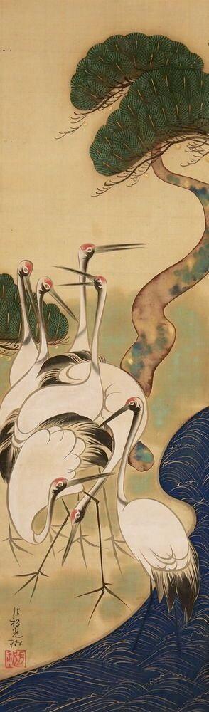 OGATA Korin. Cranes and Pine. Japanese hanging scroll. Edo period. Rinpa School.