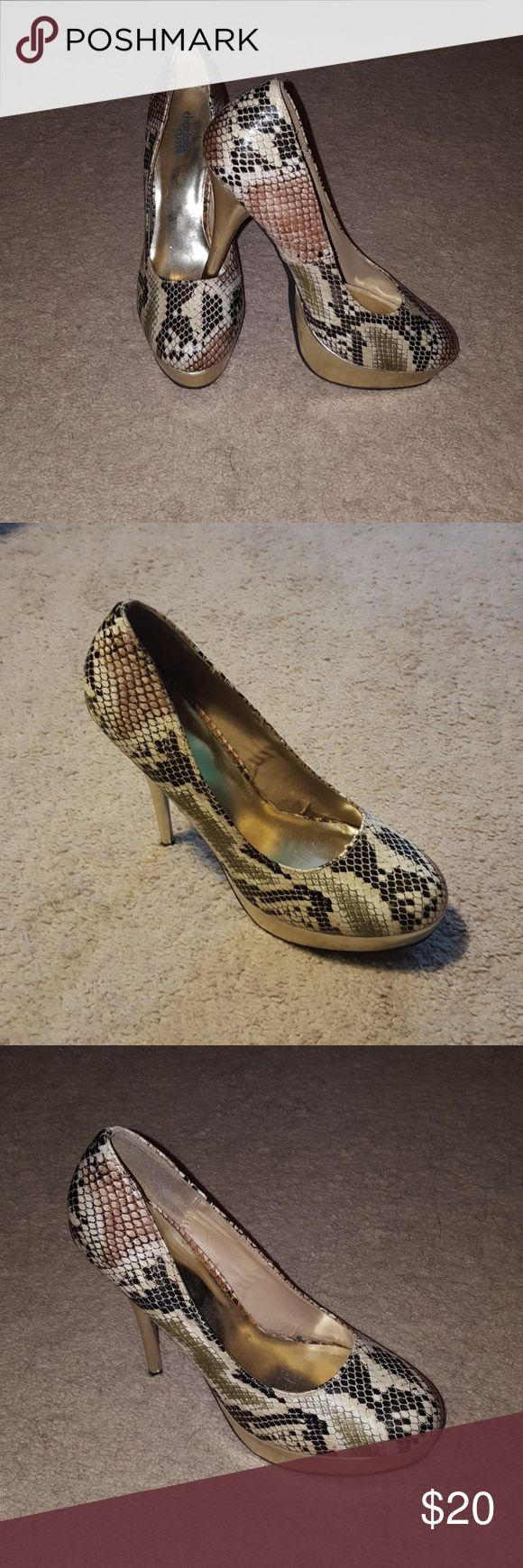 Charlotte Russe heels Faux snake skin heels 6' FEW SCUFFS you can barely see. Charlotte Russe Shoes Heels