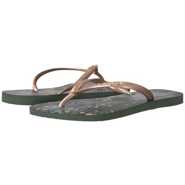Havaianas Slim Animals Flip Flops (Green Olive) Women's Sandals ($26) ❤ liked on Polyvore featuring shoes, sandals, flip flops, olive sandals, green sandals, metallic flip flops, metallic shoes and rubber flip flops