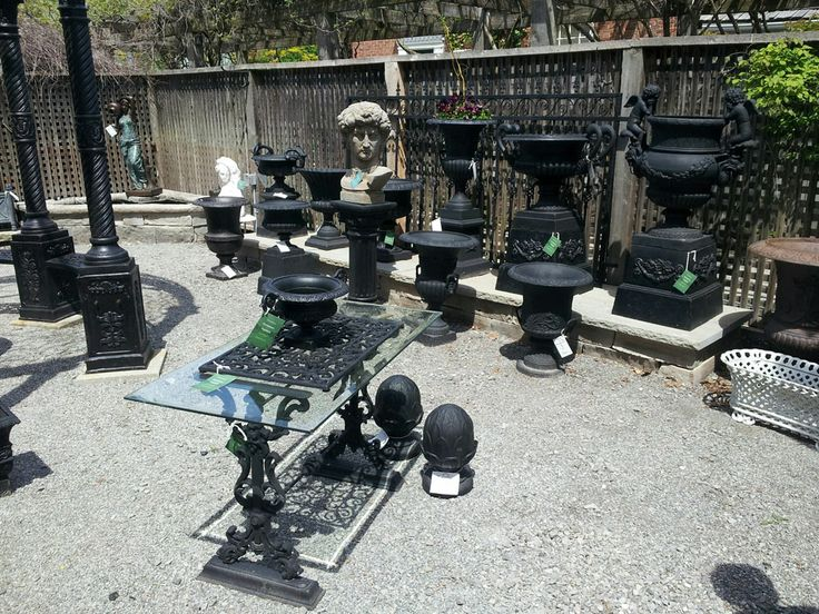Cast iron garden urns and planters
