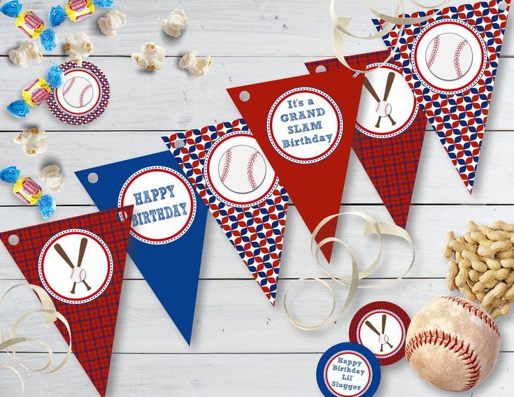 Printable Baseball Birthday Banner, Printable Happy Birthday Baseball Pennant Banner, Printable Lil Slugger Banner by sunshinetulipdesign on Etsy