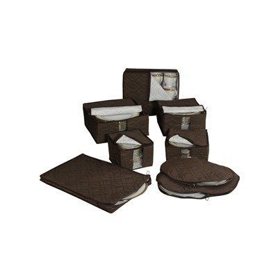 Richards Homewares Micro Fiber 8 Piece Dinnerware Storage - Brown by Richards Homewares. $30.53. Quilted design adds protection and design. Set comes with plate holders w/ dividers, Platter holder and, Stemware and mug chests. 8 piece set. Quilted Microfiber China Storage Set keeps heirloom china safe from scratches and dust year after year. This 8-piece durable microfiber quilted set features zipper closures to ensure clean storage. China will always be ready to use wi...