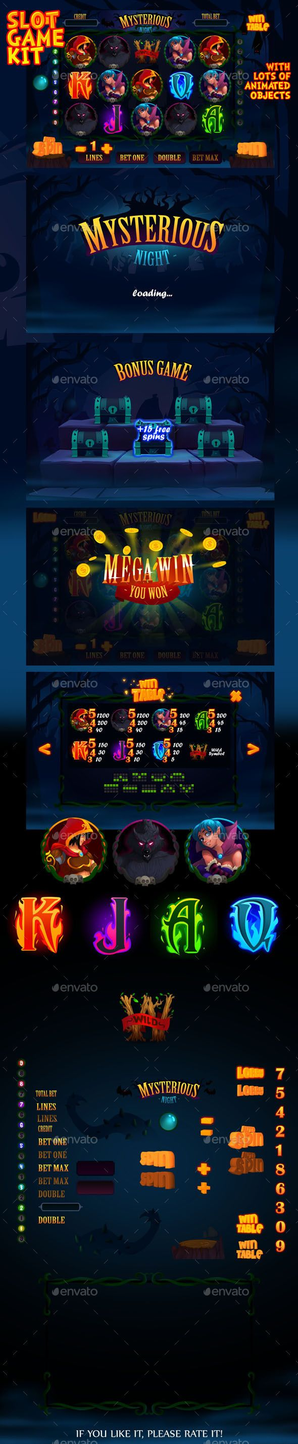 Mysterious night slot game kit — Photoshop PSD #slot machine #kit • Available here → https://graphicriver.net/item/mysterious-night-slot-game-kit/13220819?ref=pxcr