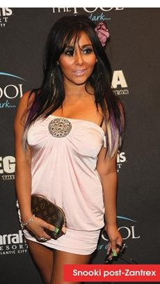 """Slim Snooki reveals weight loss secret - While she has been working out and cutting back on food and alcohol, she has also been using Zantrex-3 Fat Burner and the company put out photos this week showcasing Snooki's slimmer figure. Snooki also tweeted that she is a paid spokesperson for the product and recently said the drug gives her """"energy to work out."""""""