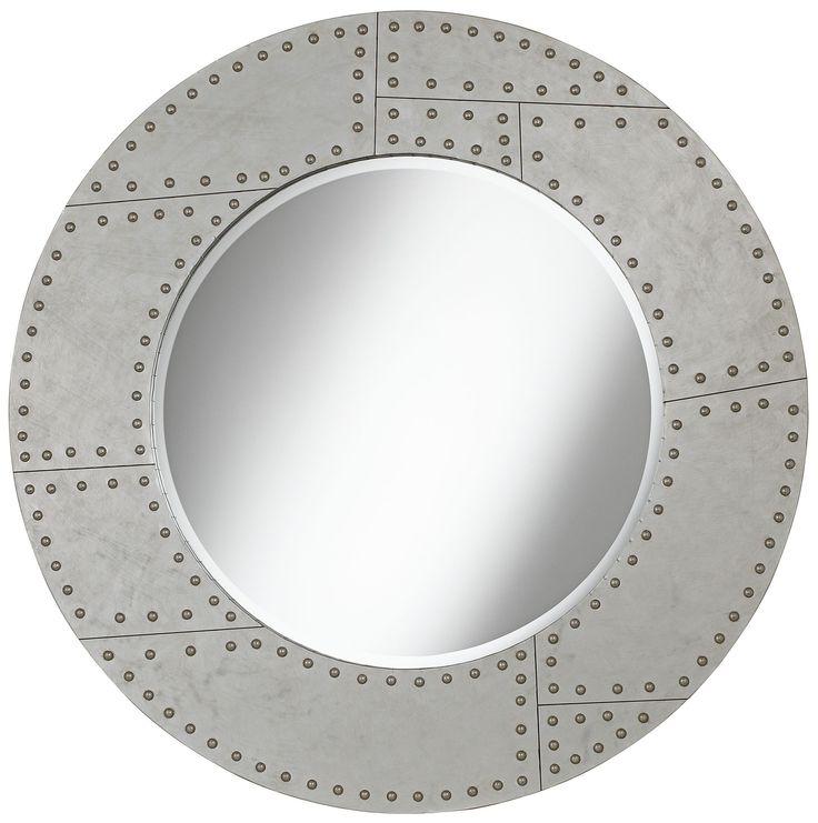 "Riveted Metal 36"" Round Wall Mirror - EuroStyleLighting.com"