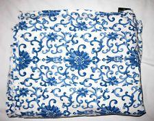 Vtg Ralph Lauren QUEEN FLAT Sheet/PORCELAIN ROSETTE BLUE White/Tamarind/Asian