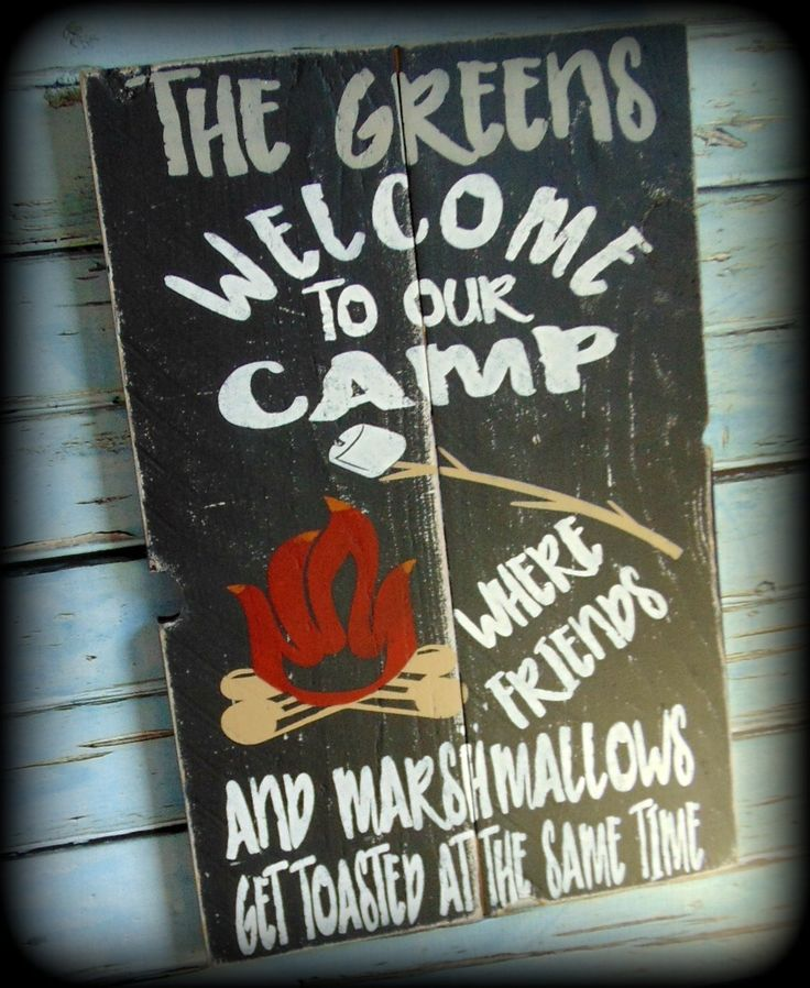 Rustic Wood Sign Camp Decor Funny Campsite Sign Personalized Sign. Welcome To Our Camp. Where friends and marshmallows get toasted at the same time. This rustic camp sign is the perfect addition to your camp, cabin, or lodge decor. (Makes a great housewarming gift too) Each sign is handcrafted and hand painted. It is heavily distressed to give a very rustic look and feel. No two are exactly alike. A saw tooth hanger has been attached to the back for easy hanging. The measurements of the…