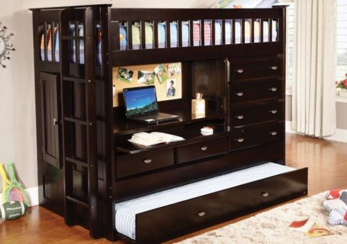This all in one twin loft bed with storage from Custom Kids Furniture includes a loft, desk, trundle bed, and dresser to make the most out of limited space in your child's room! The desk with a pull o