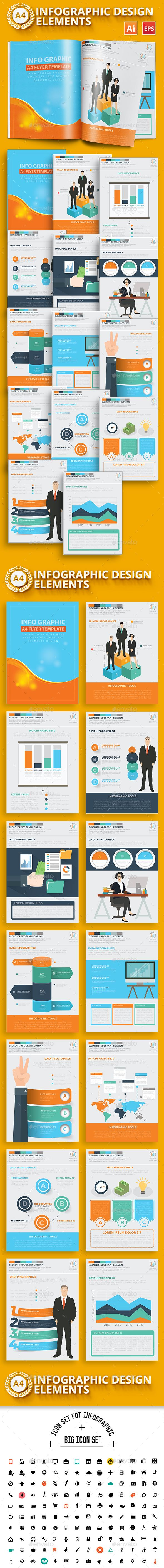 Business Infographics A4 Template Design Vector EPS, AI Illustrator