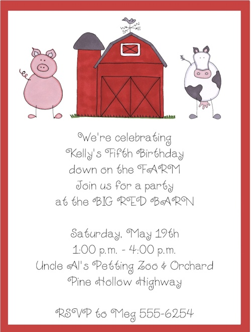 Farm/Barnyard, Pig and Cow Birthday Party Invitations-Farm/Barnyard, Pig and Cow Birthday Party Invitations