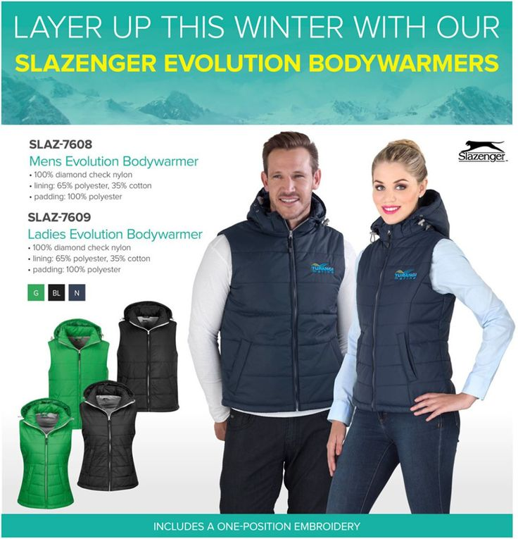 Get your winter Slazenger Evolution Bodywarmer from Best Branding. Our trendy Slazenger Evolution Bodywarmer offers versatile layering that will see you through the winter season.  Look good while making a great impression by taking advantage of the inclusive branding. SLAZ-7608Mens Evolution Bodywarmerone-position embroidery SLAZ-7609Ladies Evolution Bodywarmerone-position embroidery • Left/Right Chest: artwork must fit into a 10cm x 10cm block • Left/Right Sleeve: artwork limited to…