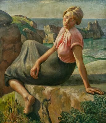British Paintings: HAROLD HARVEY - Girl on a Cliff, 1926