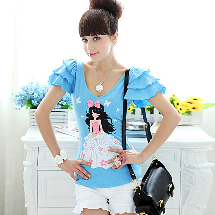 Womens summer Slim fit cartoon Round Collar Short Puff Sleeve Tshirt blue