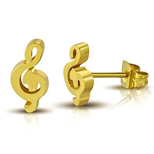 Gold Color Plated Stainless Steel Musical Treble Clef Note Stud Earrings pair  ZEM270 *** For more information, visit image link. Note:It is Affiliate Link to Amazon.