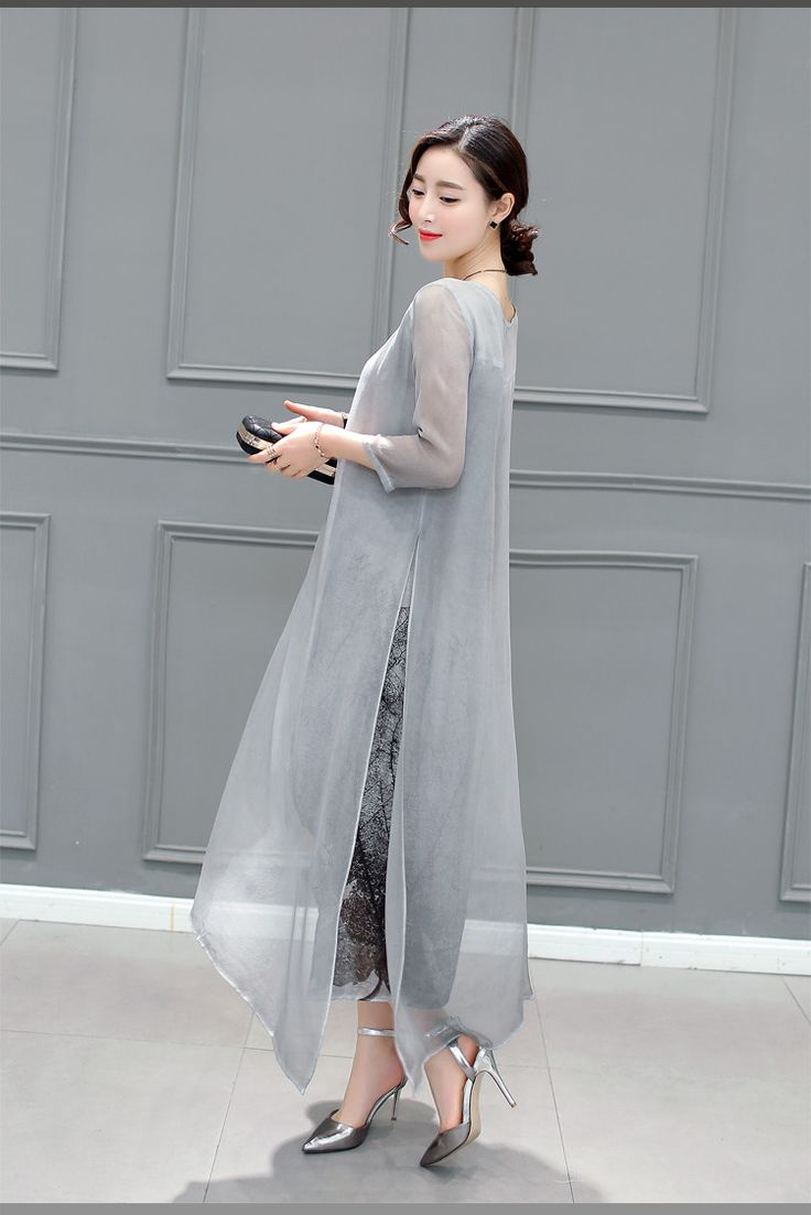 2016 Summer Casual Dress Women High Low Three Quarter Sleeve O-Neck Silk Color Gray Female Clothing Fashion