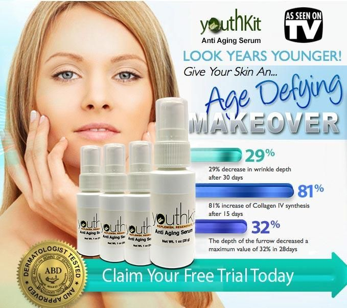 CLAIM YOUR FREE TRIAL TODAY HERE ==> http://luxurystyleicons.com/beauty-free-trial. YouthKit was created by on of America's premier anti aging skin care companies. They have succeeded at creating a powerful intensive eye cream that effectively combats not one but THREE of the most aggravating beauty problems...under eye dark circles, puffiness and wrinkles. The results are nothing less than astounding!