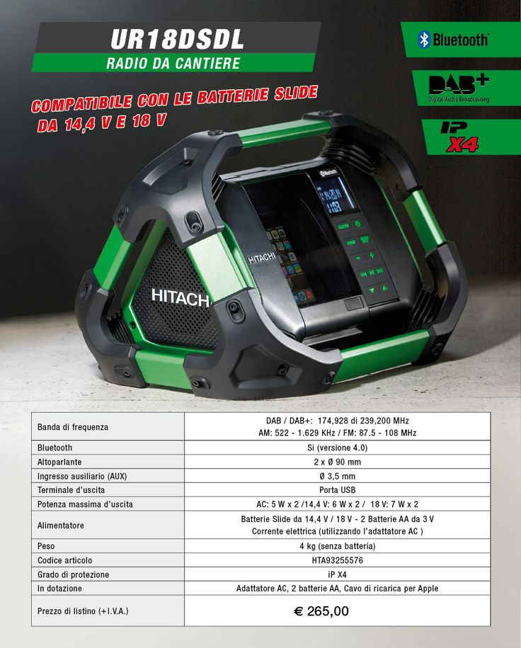 Nuova Radio Hitachi UR18DSDL !!! Dotata di Bluetooth, di frequenza DAB+ e di resistenza all'acqua!