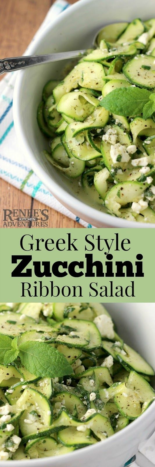 Greek Style Zucchini Ribbon Salad | by Renee's Kitchen Adventures is an easy, healthy recipe for raw zucchini salad. #rkarecipes #zucchini