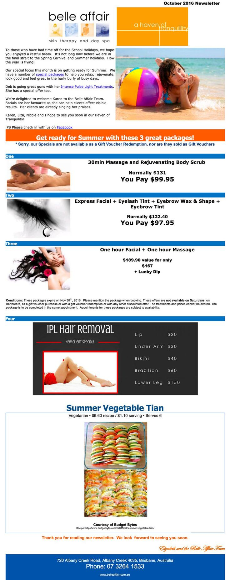 Specials for October - Belle Affair Spa & Beauty