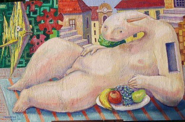 Imre Karrus Szekeres: Herdra, Lazy - 2011. 82 x 125 cm cm, 32.3 x 49.2 inch Oil, wood-fibre