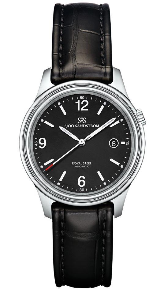 Royal Steel Classic 41 mm, black dial with black alligator. #sjöösandström #sjoosandstrom #watch #watches #sweden #classic
