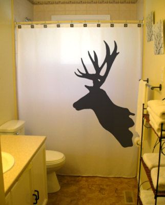 Deer Shower Curtain Buck Reindeer Antlers Moose Magestic animal doe stag hind bathroom decor kids bath custom unique shared size color white, $65.99