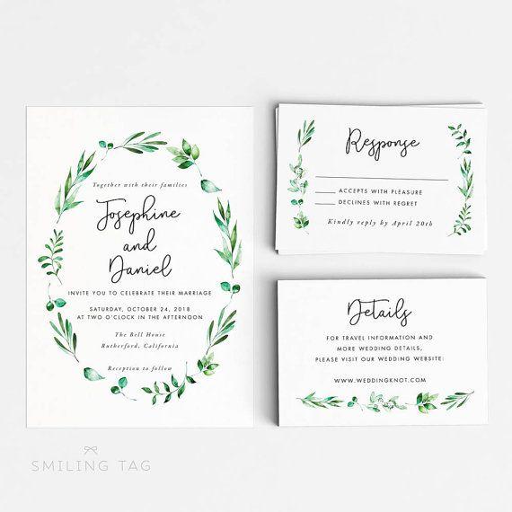 Printable Wedding Invitation Set  Watercolor by INKKprint on Etsy