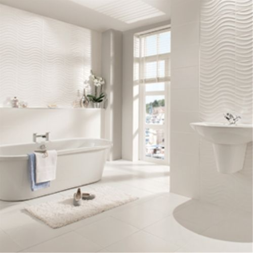 Streamline Wave White Matt Tile