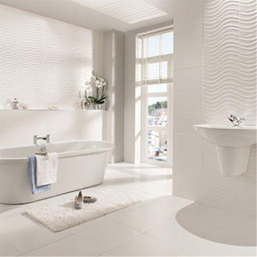 Streamline Wave White Matt Tile 400x250mm Modern White