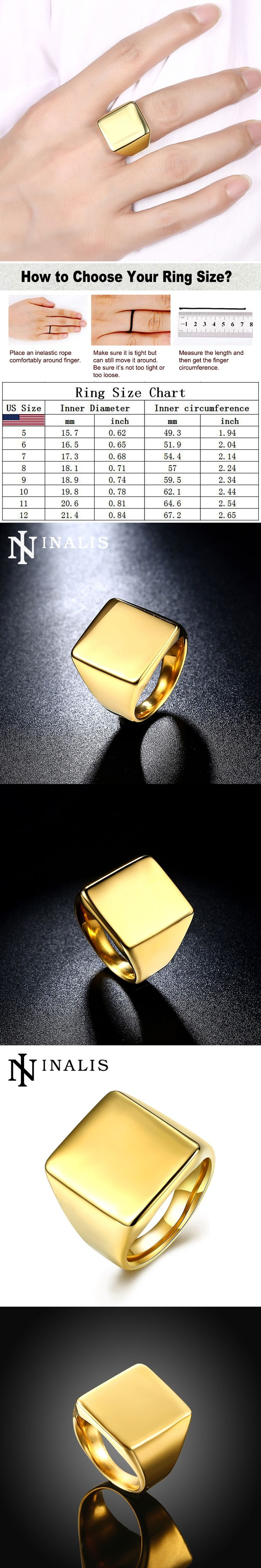INALIS Minimalist Fashion Men's Signet Rings Luxury Gold Color Titanium Steel Finger Jewelry Big Square Shape Mid Rings for Men