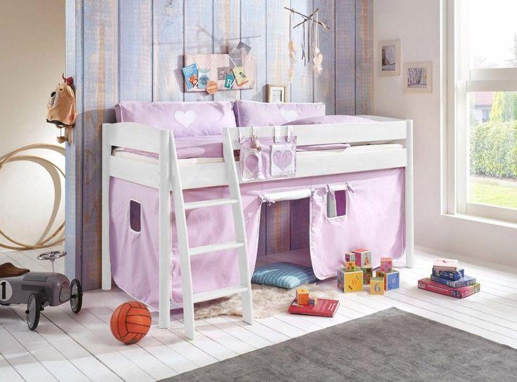 Popular Halbhohes Bett mit Textil Set Michelle lila xcm Buche massiv wei