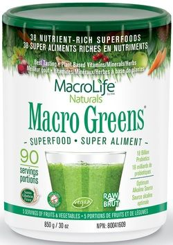 MacroLife Naturals Macro Greens Nutrient Rich Superfood $107.99 - from Well.ca