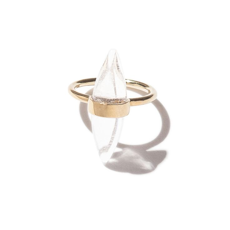 Large Glory ring - brass | $79. Fine ring crafted in brass with large rounded edge double-pointed clear quartz crystal stone detail. Shop now: http://www.savethelastpinker.com.au/shop/large-glory-ring-brass/
