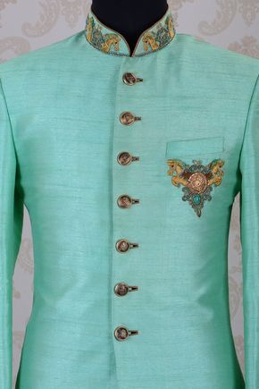 IndoWestern Sherwani-Mint Green-Zari Work-IW818 - IndoWestern Sherwani/Achkans - Sherwani - Men's Wear