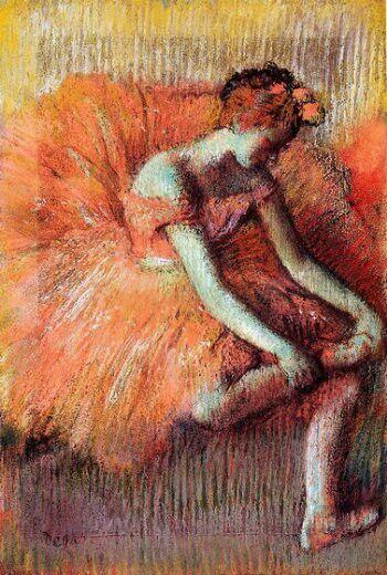 Bailarina ajustando su zapatilla by Degas