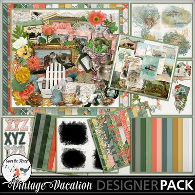VINTAGE VACATION bundle  from Over the Fence Designs is cheerful and romantic at the same time.   There are beautiful papers, elements, blendables, masks, alphas & water colour styles in this bundle. There are eight packs in this bundle which can be bought separately.
