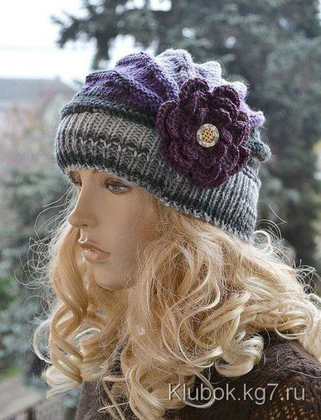 Original and very beautiful hat with knitting needles (short rows)