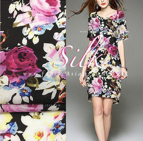 Tissu Roses Mousseline de soie - achat soie imprimee : Tissus Habillement, Déco par fabricasians