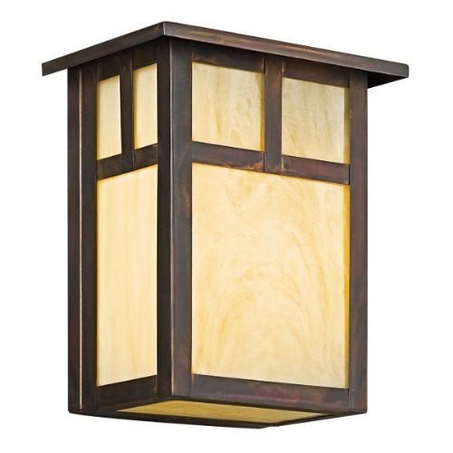 Kichler Lighting 9143CV Alameda 1-Light Incandescent Outdoor Wall Mount, Canyon View with Honey Opalescent Glass, 8-Inch by Kichler. $126.00. From the Manufacturer                The Kichler Lighting 9143CV 1-Light Incandescent Alameda Outdoor Wall Mount measures 7-Inch wide with a body height of 8-Inch. The Alameda Collection brings its simple, down-to-earth design to your outer decor adding an unassuming dynamic to your home's profile. Each fixture is made of durable sol...