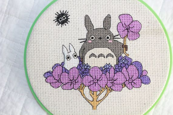 Totoro on Hydrangea Cross Stitch PATTERN PDF by epickawaii on Etsy, $3.99