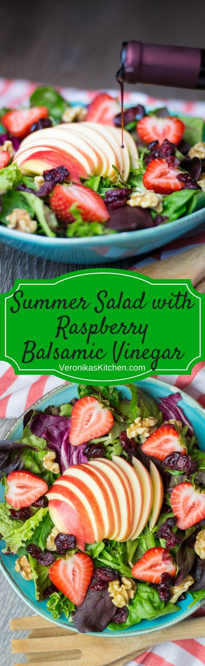 Summer Salad with Raspberry Balsamic Vinegar is fresh, nutritious, and perfect for hot summer days. All you need is mixed baby greens, strawberries, walnuts, dried cranberries, an apple, and Raspberry Balsamic Vinegar, which has a beautiful sweet and tart raspberry flavor.