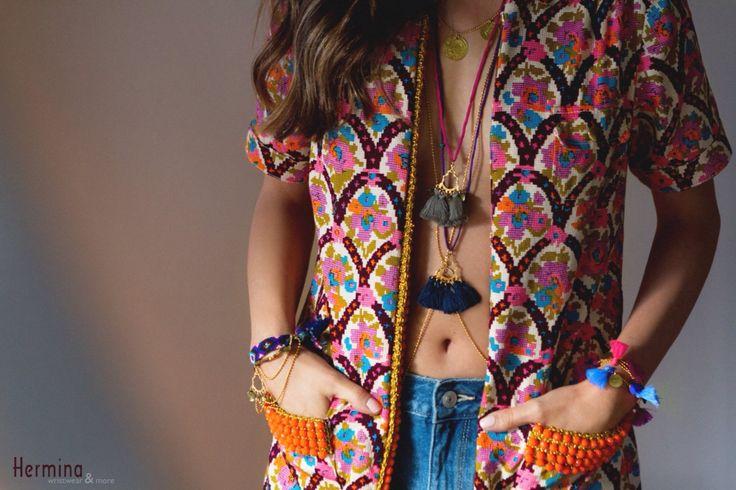 Hermina wristwear ss15 collection. Boho style, gypsy, colorful tassels, friendship, jewelry, fashion.