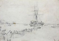 Pencil drawing by E W Cooke, towing the cable ashore, Atlantic Telegraph expedition, 1858. IET Archives ref SC MSS 023. #histSTEM