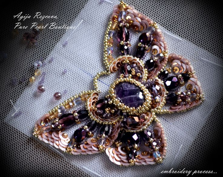 butterfly brooch in process, bead embroidery