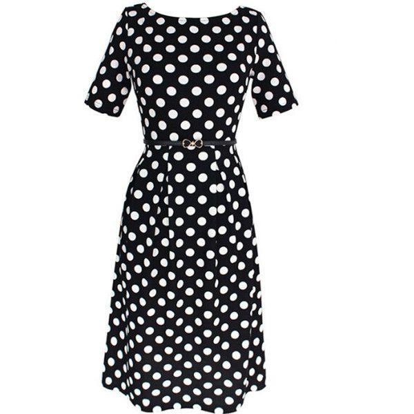 Classic Black White Polka Dot Round Neck Skater Dress ($35) ❤ liked on Polyvore featuring dresses, black white polka dot dress, white black dress, short dresses, black and white dress and black and white short dresses