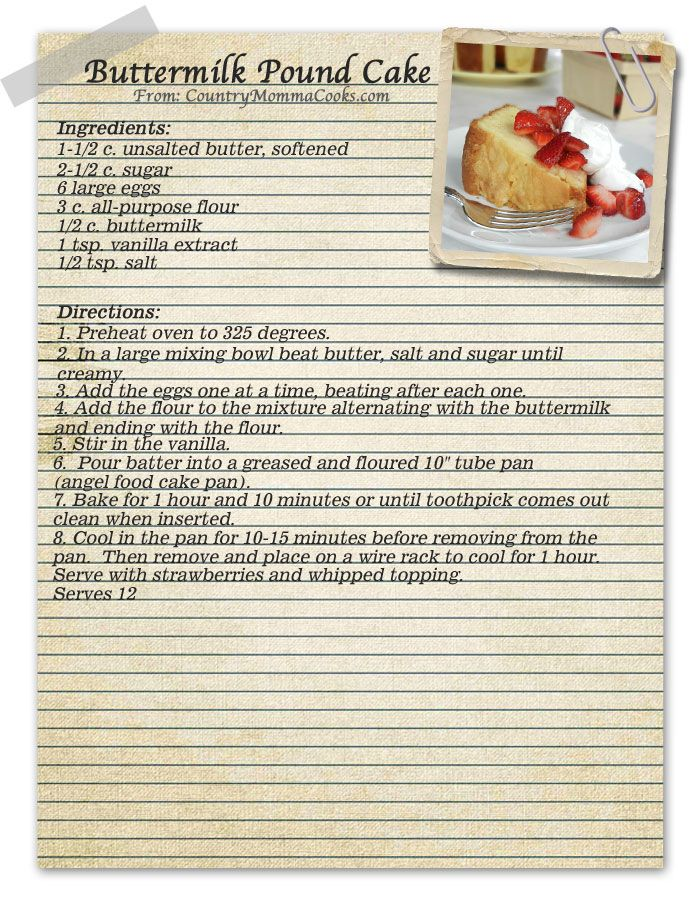 Image detail for -Country Momma Cooks: Vintage Buttermilk Pound Cake Recipe