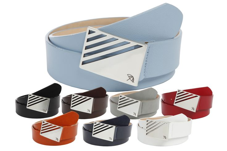 """Leather Strap Belt with a Silver Plaque Buckle featuring Diagonal Corner Cut-Outs and the """"Arnie™"""" Umbrella Logo - $70.00 - Arnie™ Belts"""