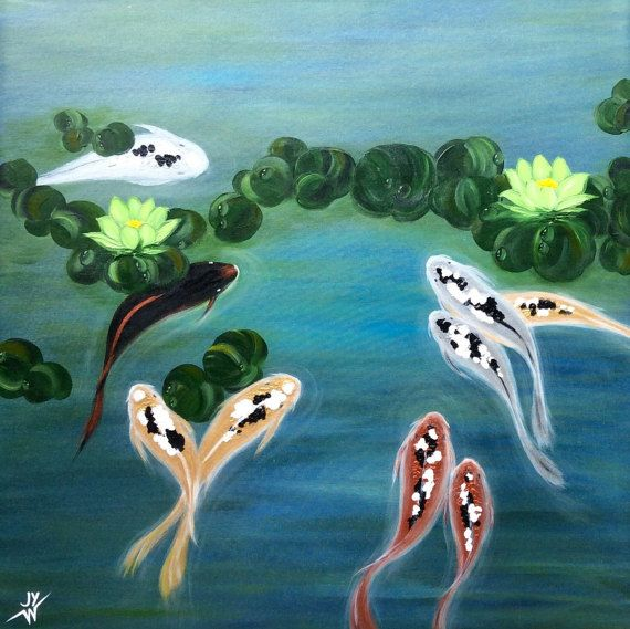 Painting-Feng Shui Koi Fish Modern Abstract Art by studiox26
